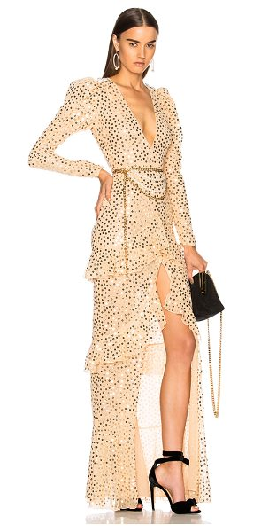 Alessandra Rich Sequin Long Sleeve Gown in nude - Self & Lining: 100% polyTrim: 100% polyamide. Made in...
