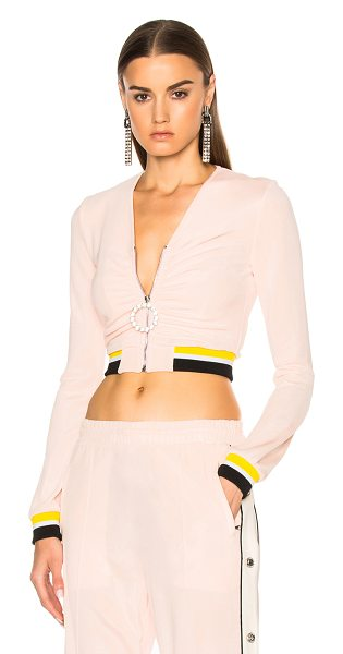 Alessandra Rich Zip Up Tracksuit Jacket in pink - Self: 80% viscose 20% elastanLining: 100% silk. Made in...