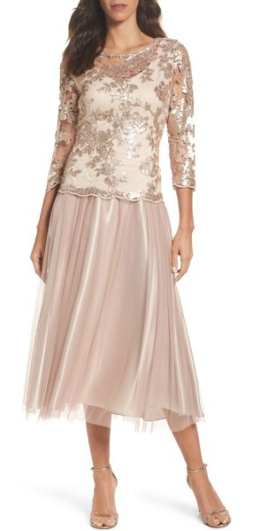 Alex Evenings embroidered bodice tea-length dress in mocha - Scalloped edges and shimmering sequin embroidery at the...