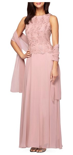 Alex Evenings embroidered chiffon gown & shawl in antique rose - Corded floral lace finished with scalloped edges...