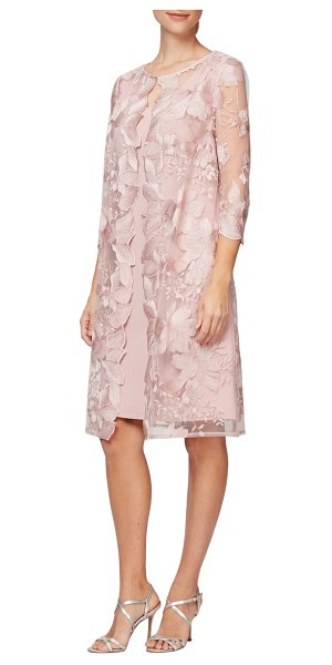 Alex Evenings embroidered lace mock jacket cocktail dress in pink