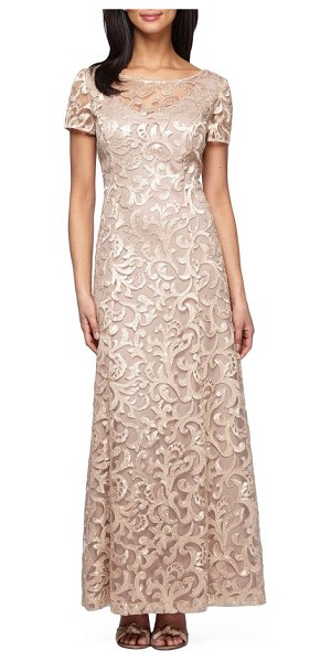 Alex Evenings petite   embroidered woven gown in gold champagne - Lustrous embroidery scrolls over this airy...