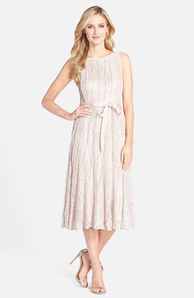 Alex Evenings glitter lace a-line midi dress in icy pink - Raised merrow-stitched seam work adds slimming vertical...