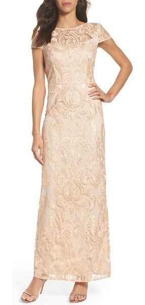 Alex Evenings lace column gown in pink/ gold - Make an elegant entrance in this figure-elongating gown...