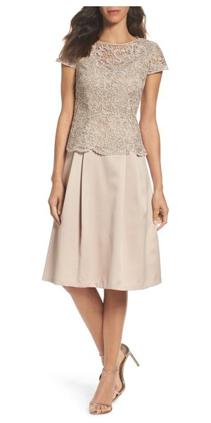 Alex Evenings lace tea-length dress in champagne - Scalloped edges and shimmering lace at the overlaid...