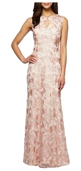 Alex Evenings mesh gown in peach - Satin soutache appliques swirl around an airy evening...