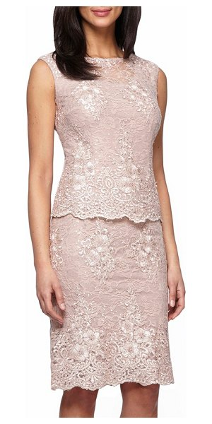 Alex Evenings mock two-piece lace sheath dress in antique rose