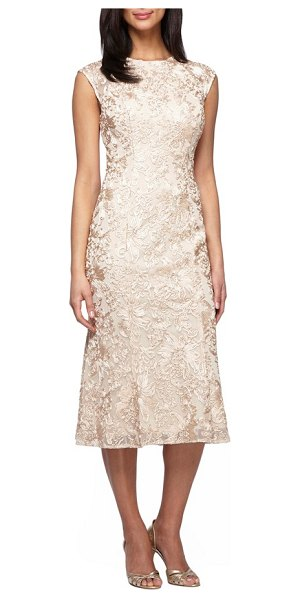 ALEX EVENINGS petite   ribbon embroidery dress - Gorgeous ribbon flower embroidery adds romantic...