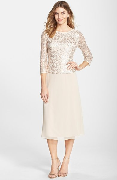 Alex Evenings sequin lace bodice chiffon midi dress in camel - An overlaid bodice of sequined mesh brings an elegant...