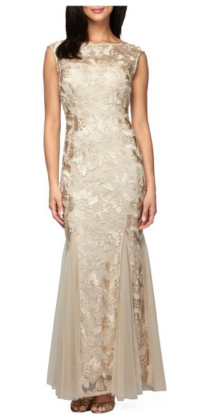 Alex Evenings tulle mermaid gown in beige - Satiny, scrolling soutache appliques create an ornate...