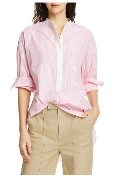 ALEX MILL lisboa stripe shirttail tunic in pink