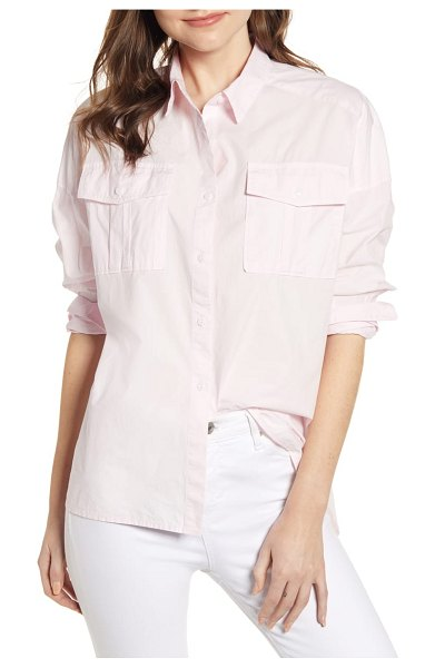 ALEX MILL oversize shirt in pink - Drop-shoulder styling enhances the relaxed fit of a...