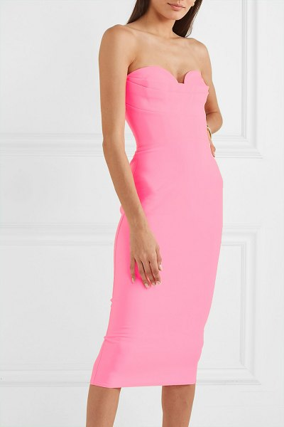 Alex Perry corley strapless neon crepe dress in pink