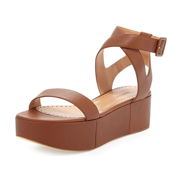 """Alexa Wagner Puccia Ankle Strap Platform Wedge in brown - Alexa Wagner leather platform wedge sandal. 2"""" covered..."""