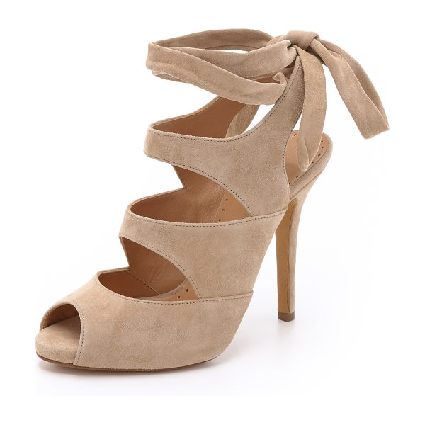 Alexa Wagner Rafaella suede sandals in nude - Wraparound ankle ties complement the feminine look of...