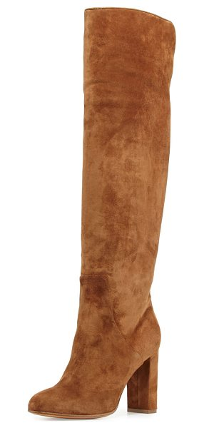 """Alexa Wagner Theresa Suede Over-the-Knee Boot in brown - Alexa Wagner suede over-the-knee boot. 3.5"""" covered..."""
