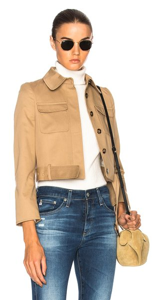 ALEXACHUNG Cropped Patch Pocket Jacket in neutrals - Self: 100% cotton - Lining: 100% viscose.  Made in...