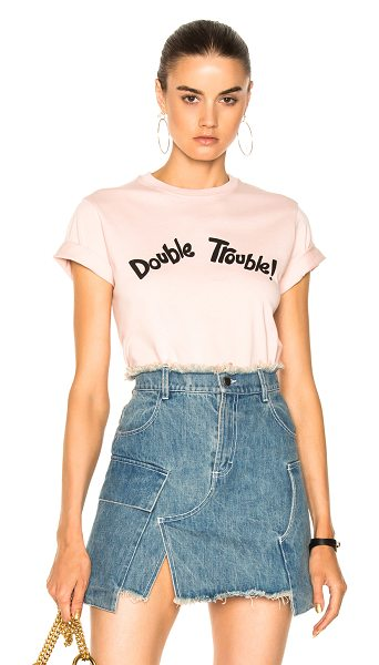 ALEXACHUNG Double Trouble Boxy Tee in pink - 100% cotton.  Made in Portugal.  Machine wash.