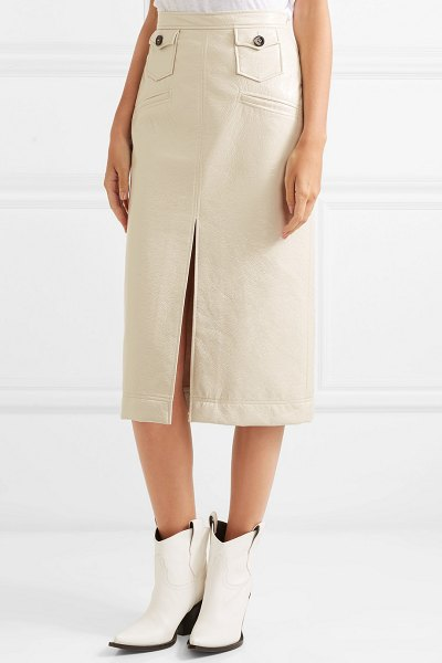 ALEXACHUNG faux patent-leather pencil skirt in cream