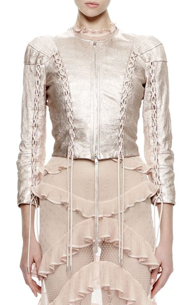 Alexander McQueen 3/4-Sleeve Metallic-Leather Jacket in rose/silver - Alexander McQueen washed lambskin leather jacket....