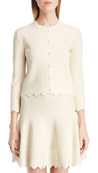 Alexander McQueen bicolor jacquard lace cardigan in ivory/ flesh - Tone-on-tone design accentuates the pretty, lacy...