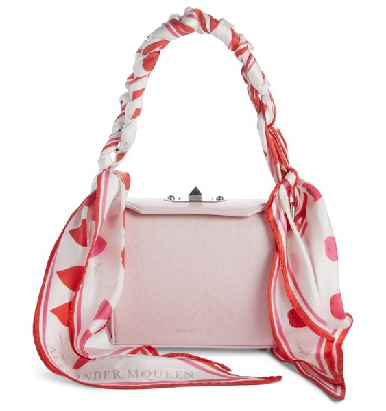 Alexander McQueen box bag 16 leather bag in baby pink/ ivory - An elegant silk scarf wrapped around the top handles...
