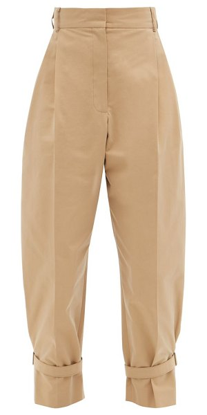 Alexander McQueen buckled tailored cotton trousers in camel