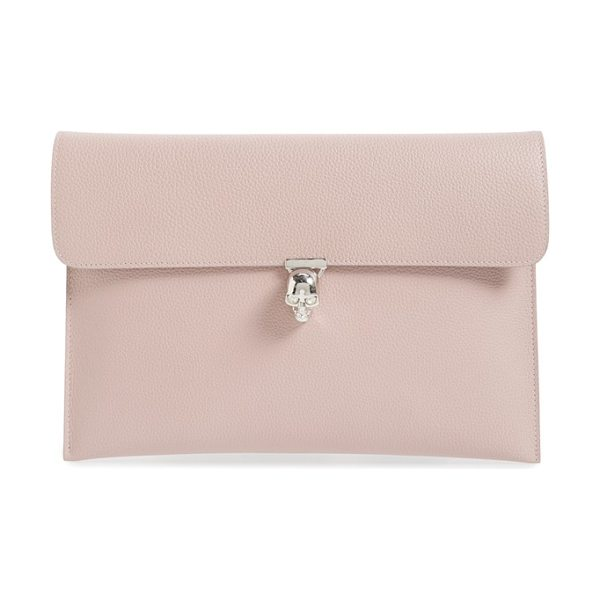 Alexander McQueen Calfskin leather envelope clutch in patchouli - Streamlined yet statement-making, this envelope clutch...
