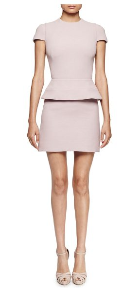 "Alexander McQueen Cap-Sleeve Peplum-Waist Dress in patchouli - Alexander McQueen wool-blend dress. Approx. length: 34""L..."