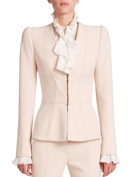 Alexander McQueen Compact seamed blazer in beige - Structured shoulders and geometric seaming details...