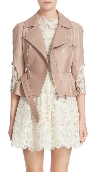 Alexander McQueen crop lambskin leather jacket in misty rose - A pale, rosy hue and a ruffled peplum soften the rugged...