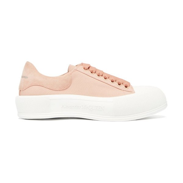 Alexander McQueen deck canvas and suede trainers in light pink