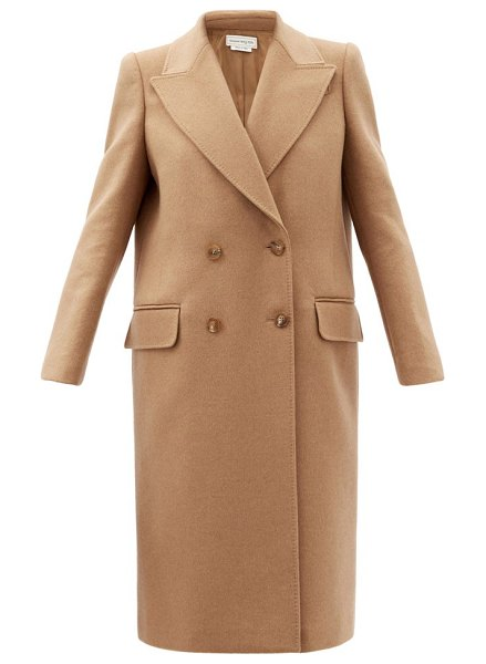 Alexander McQueen double-breasted camel-hair coat in camel