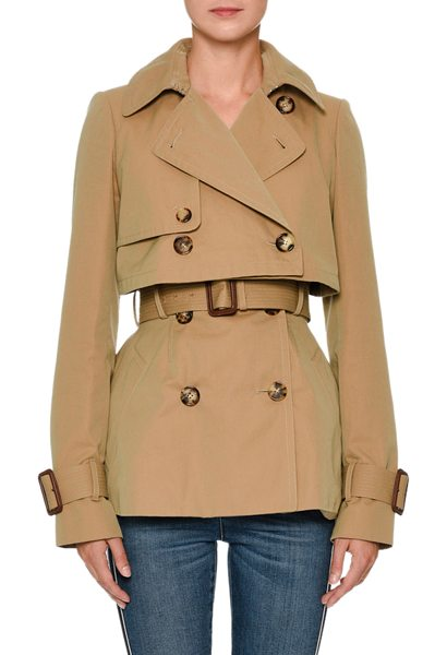 Alexander McQueen Double-Breasted Cotton Short Trench Coat in beige - Alexander McQueen short trench coat, Wide, notched...