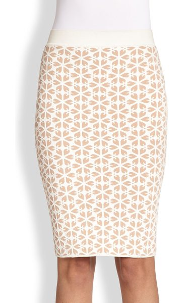 Alexander McQueen Floral jacquard knit skirt in nudewhite - A graphic floral jacquard adds dimension to this sleek...