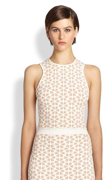 Alexander McQueen Floral jacquard knit top in nudewhite - A graphic floral jacquard adds dimension to this sleek...