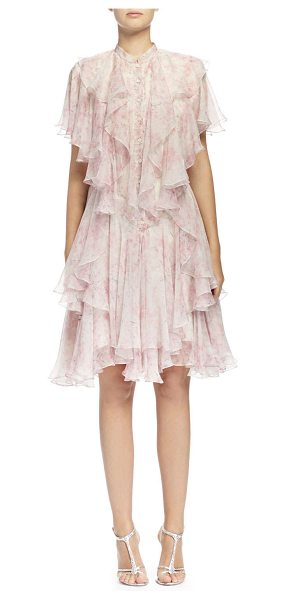 Alexander McQueen Floral-print angled multi-layered ruffle dress in pink/silver