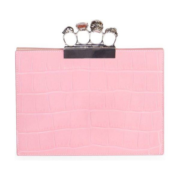 Alexander McQueen four-ring croc-embossed leather clutch in bright pink - Tough luxe brass knuckle-inspired handle in...
