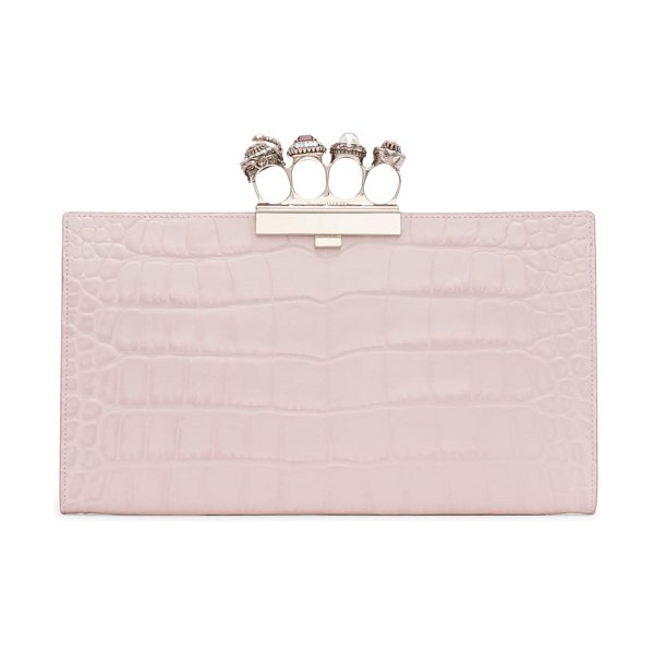 Alexander McQueen four-ring knuckle clasp croc embossed leather clutch in pink - Signature knuckle hardware embellished with sparkling...