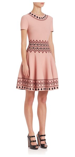 Alexander McQueen geometric jacquard fit & flare knit dress in pink/black