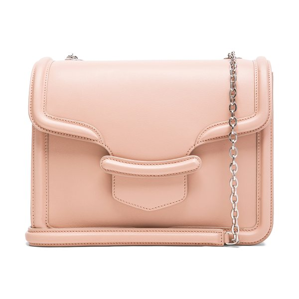 Alexander McQueen Hero chain satchel in neutrals - Genuine leather with suede lining and silver-tone...