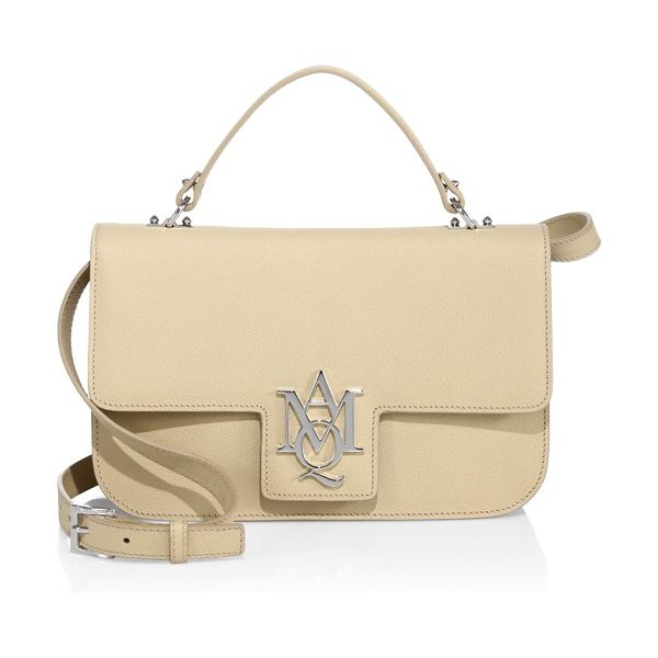 Alexander McQueen insignia large leather satchel in beige - Structured leather satchel with polished insignia. Top...