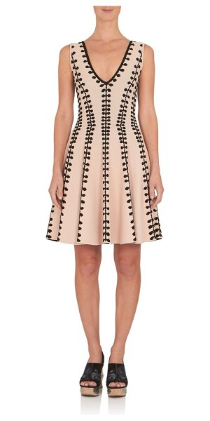 Alexander McQueen Jacquard fit-&-flare dress in camel-black - Jacquard dress cut in fit-and-flare...