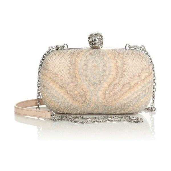 ALEXANDER MCQUEEN Lace skull box clutch - A delicate lace overlay shimmers with metallic threads...