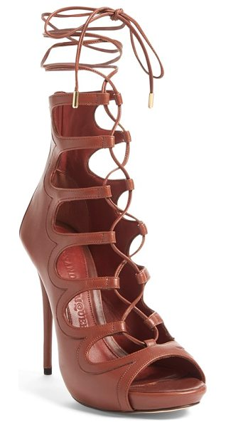 Alexander McQueen lace-up sandal in brown leather