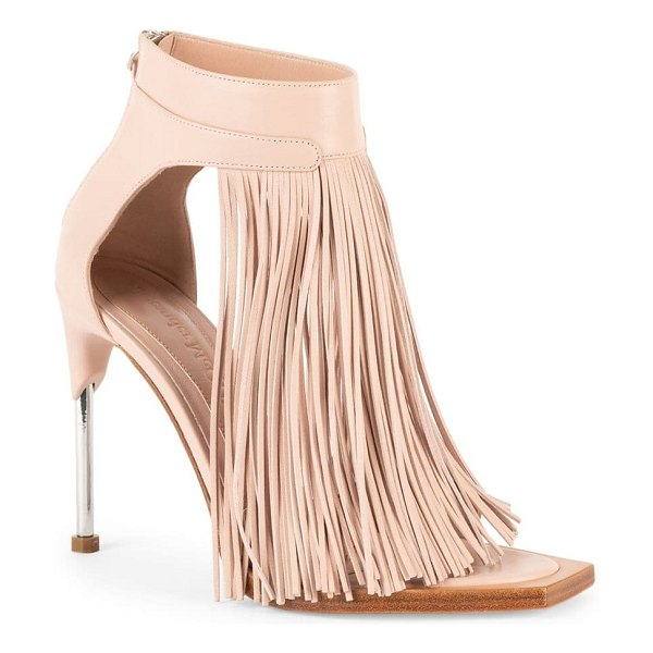 Alexander McQueen leather fringe ankle-strap sandals in pink