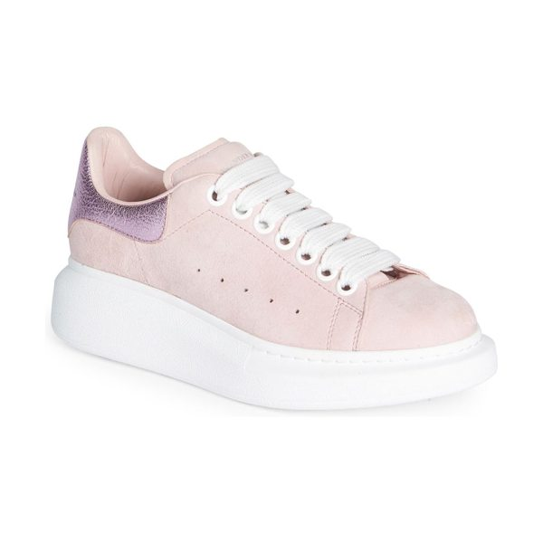 Alexander McQueen leather & metallic platform sneakers in clover pale pink - Perforated leather platform sneaker with metallic...