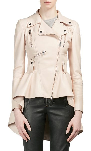 Alexander McQueen leather peplum moto jacket in petal