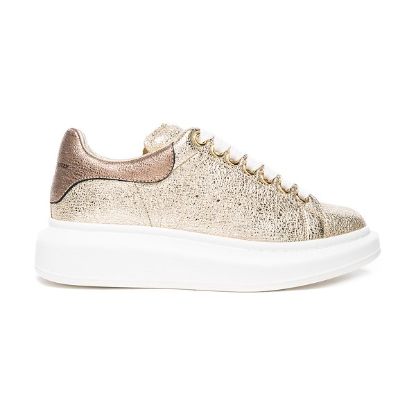 Alexander McQueen Leather Platform Sneakers in gold & boudoir - Crinkled metallic leather upper with rubber sole. Made...