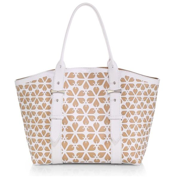 Alexander McQueen Legend cutout medium tote in white-nude - A pretty laser-cut floral pattern defines this tasteful...